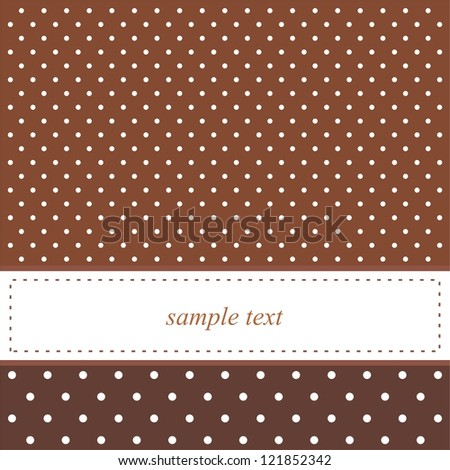Brown vector background with white polka dots - card or invitation. Cute background with white space to put your own text message.