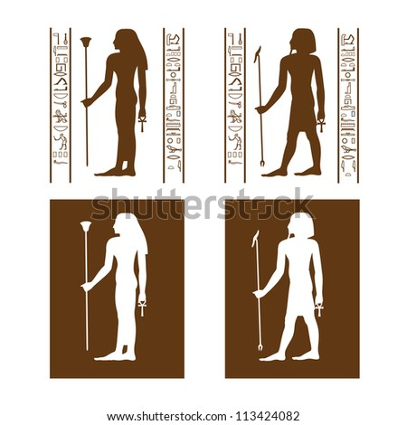 Brown vector Egyptian restroom symbols with hieroglyph frame - stock vector