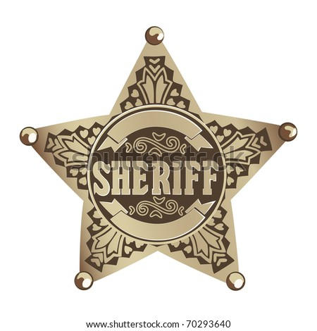 brown vector  Sheriff star on white background - stock vector