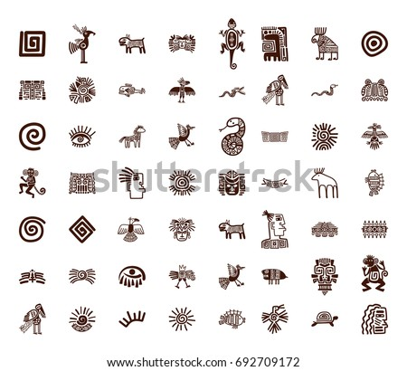 Brown Vector Tribal Symbols Set On Stock Photo Photo Vector