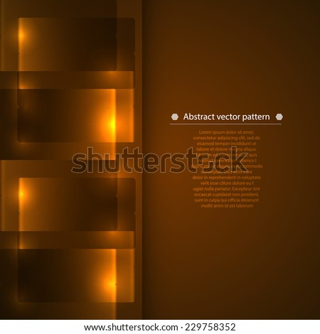 brown vertical abstract geometric background with luminous accents. Vector illustration - stock vector