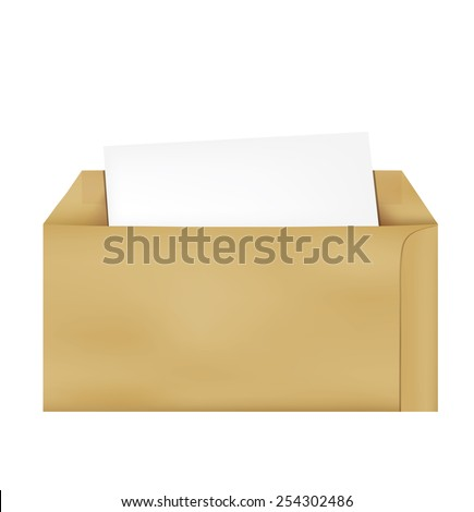 Brown Vintage Envelope with blank paper on white. - stock vector