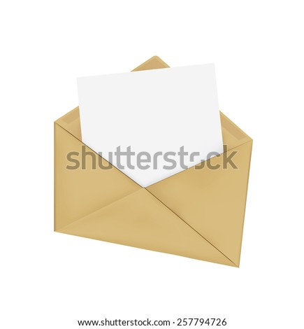 Brown Vintage Envelope with blank paper on white.