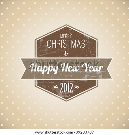 Brown vintage retro Christmas label on the light background - stock vector