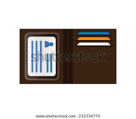 Brown Wallet with Identification and Credit Cards - stock vector