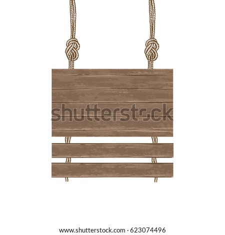 Brown wooden boards for advertising are suspended on a rope