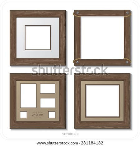 brown wooden frame set
