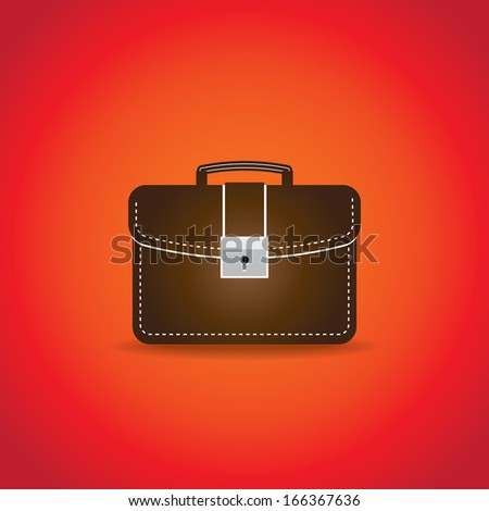 Brown work bag illustration. Vector