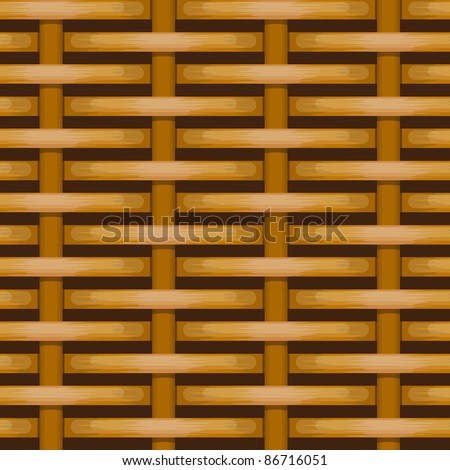 Brown woven wicker for use as background - stock vector