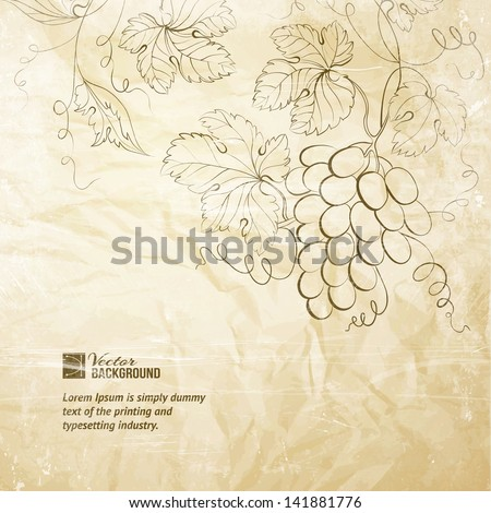 Brown wrinkled paper with grapes. Vector illustration. - stock vector