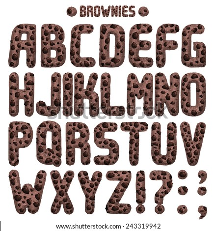 Brownie font. Full ABC Part 1/2 Rich in chocolate chips - stock vector