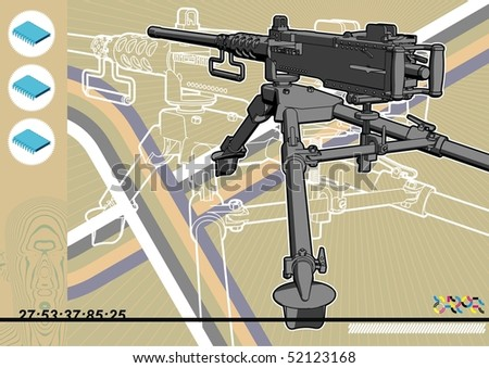 Browning machine gun schematic design template. - stock vector