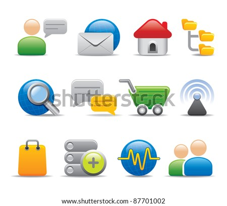 Browse internet icons and logo - stock vector