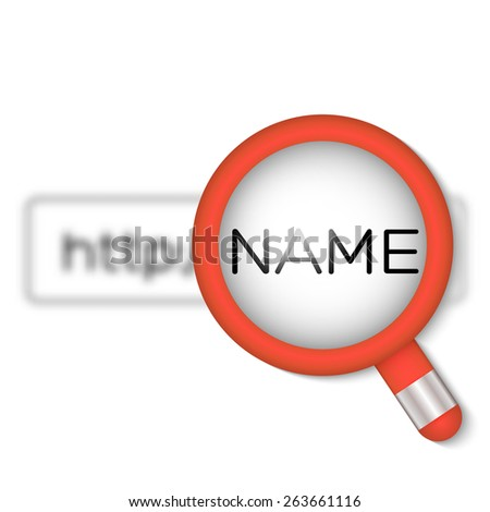 Browser Search with Magnifier. Vector Illustration for Presentation of Search Engine of Domain Service - stock vector
