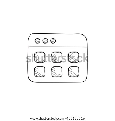 Browser window with folders vector sketch icon isolated on background. Hand drawn Browser window with folders icon. Browser window with folders sketch icon for infographic, website or app. - stock vector