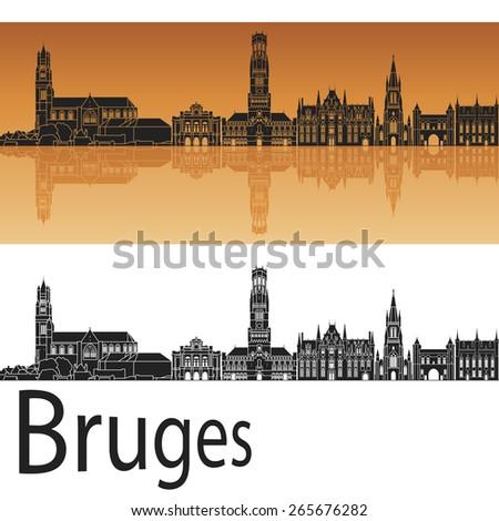 Bruges skyline in orange background in editable vector file - stock vector
