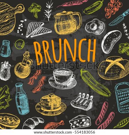 Restaurant Kitchen Hand brunch card elements kitchen hand drawn stock vector 551982880