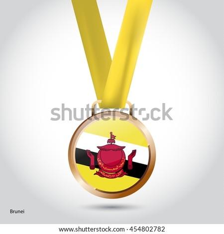 Brunei Flag in Bronze Medal. Olympic Game Bronze Medal. Vector Illustration - stock vector
