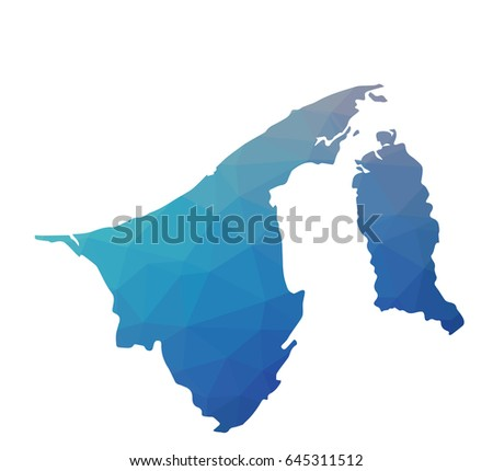 Brunei map - blue geometric rumpled triangular low poly style gradient graphic background