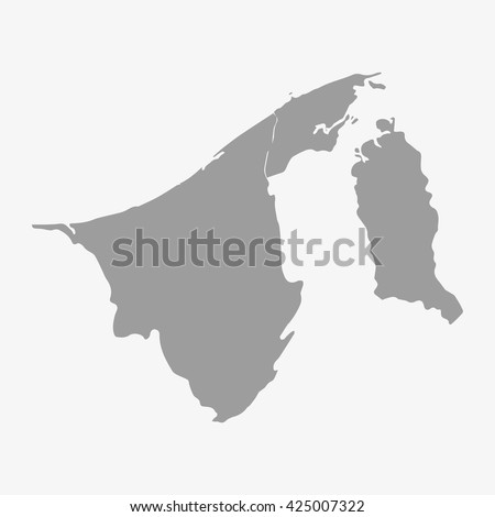 Brunei  map in gray on a white background