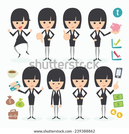 brunette businesswoman in different poses and actions - stock vector
