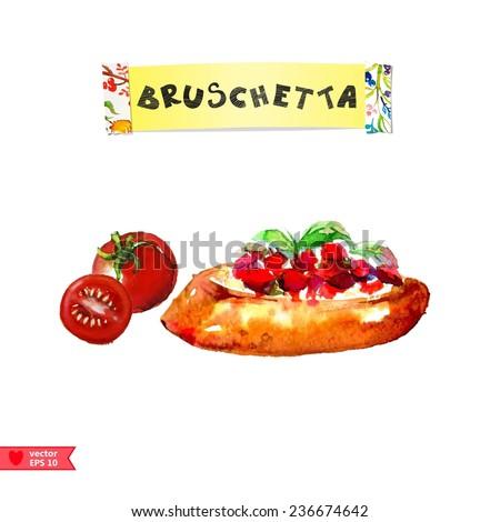 Bruschetta with tomato - stock vector