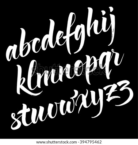 Brush alphabet. Modern calligraphy, handwritten letters. Vector illustration. - stock vector