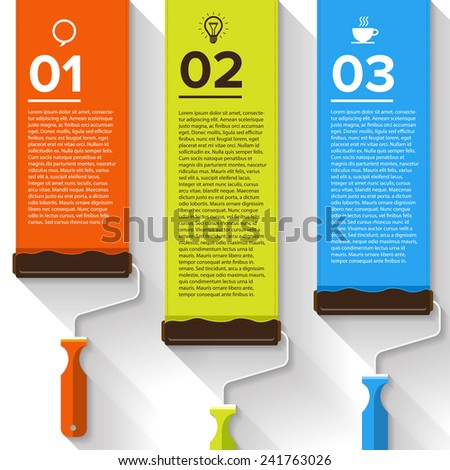 Brush device vector text boxes, modern infographics, icon and marker - stock vector