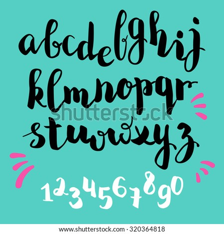 Brush Pen Style Vector Alphabet Calligraphy Lowercase Letters And Figures
