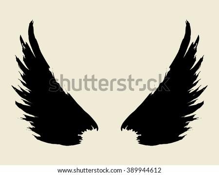 Brush sketch of wings   - stock vector