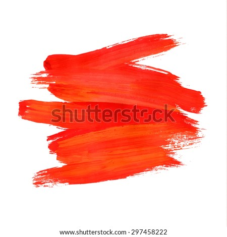 Brush stroke. Acrylic paint stain. Red stroke of the paint brush isolated on white - stock vector
