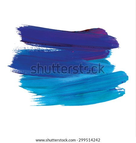Brush stroke. Acrylic paint stain. Stroke of the paint brush isolated on white - stock vector