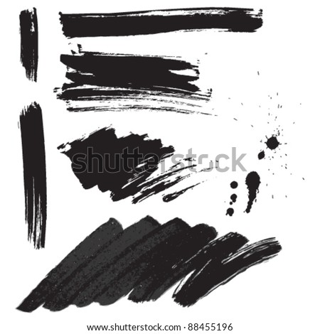 Brush strokes and ink splatter set - stock vector
