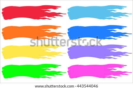 brush strokes set multicolor vibrant art - stock vector