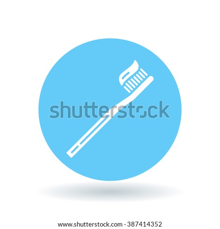 Brush teeth icon. Toothbrush with toothpaste sign. Dental care symbol. White icon on blue circle background. Vector illustration. - stock vector