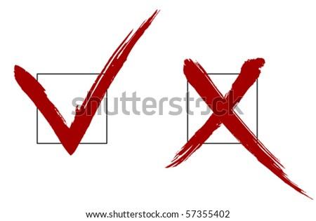 Brush vector check marks - stock vector