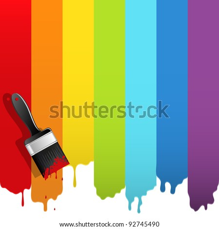 Brush with rainbow paint. Abstract vector illustration. - stock vector