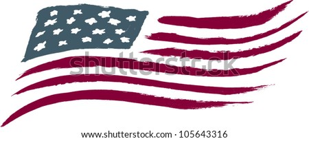 Brushed American Flag Graphic - stock vector