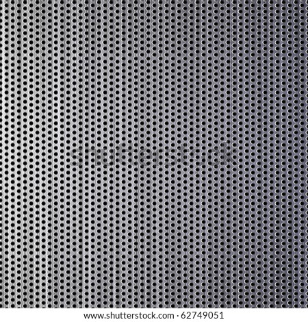 Brushed steel grill drilled with holes. - stock vector