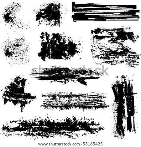 Brushes and other grunge elements vector - stock vector