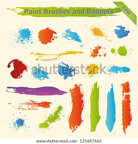 Brushes and Paint Banners. Set 2. - stock vector