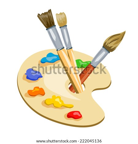 brushes and palette with paints. vector illustration - stock vector