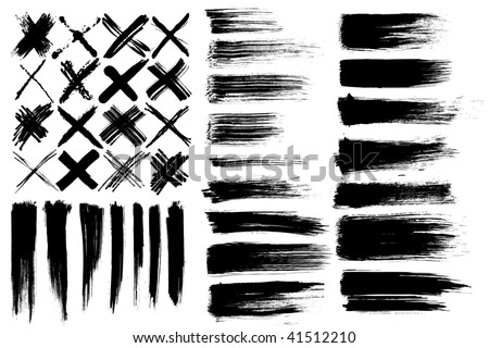 brushes & cross marks - stock vector