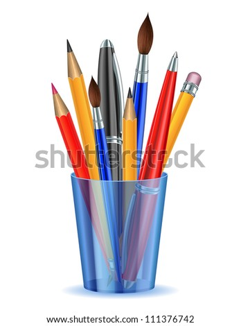 Brushes, pencils and pens in the holder. Vector illustration - stock vector