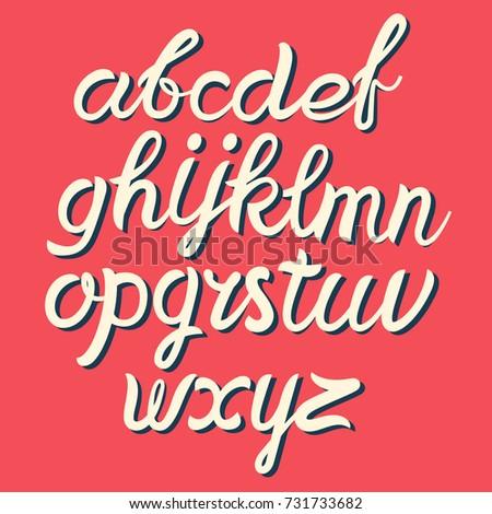 Brushpen Comic Lettering Font Vector AlphabetHand Script Handwritten Brush Style