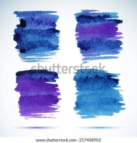 Brushstroke banners. Ink blue watercolor spot backgrounds. Template with shadow  - stock vector