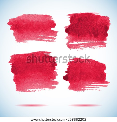Brushstroke banners.  Ink red watercolor spot backgrounds.Template with shadow  - stock vector
