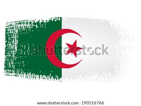 Brushstroke Flag Algeria with transparent background - stock vector