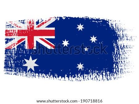 brushstroke flag Australia with transparent background - stock vector