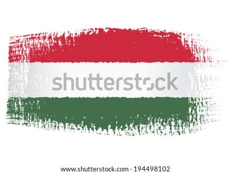 brushstroke flag Hungary - stock vector